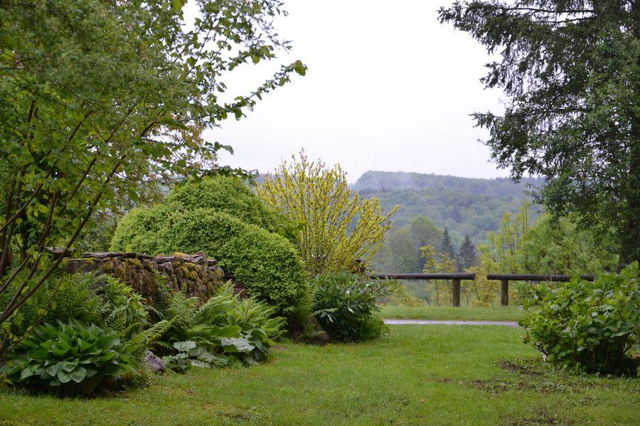 le jardin par un jour de pluie